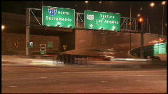 405 & 101 Interchange at night - stock footage
