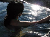 Stock Video Footage of High Speed Camera : Woman in hot springs slow motion 1