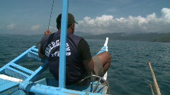 Palawan outrigger boat 9 Stock Footage