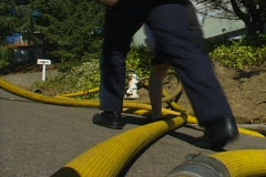 Fire hydrant and hoses Stock Footage