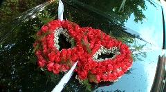 Wedding Flower Decoration on Car Stock Footage