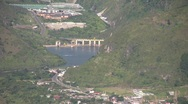Stock Video Footage of Hydroelectric dam viewed from above