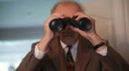 Stock Video Footage of Dismay binoculars looking spy spying suprised