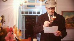Stock Video Footage of Sherlock holmes sheet mortgage paperwork examine