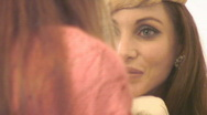 Stock Video Footage of Classy woman in the mirror - Close ups - 4