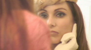 Stock Video Footage of Classy woman in the mirror - Close ups - 1