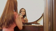 Stock Video Footage of Woman in an antique mirror - reflections series 1 - 7
