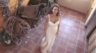 Stock Video Footage of Cowgirl fantasy angel in white dresses poses and dances - 7