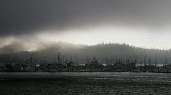 Fishing harbor in mist Stock Footage