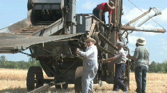 Threshing crew 007 - stock footage