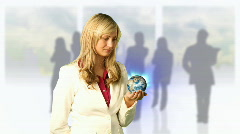 Woman Holding 3d World Stock Footage
