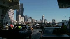 Ferry approaching dock Stock Footage