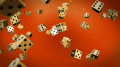 Dices flying against red Stock Footage