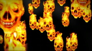 Stock Video Footage of Skull on flames
