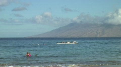 Outrigger Paddlers Exchange Stock Footage