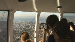 Table Mountain Aerial CableWay up 07 Stock Footage