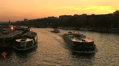 Stock Video Footage of River Boats Sunset