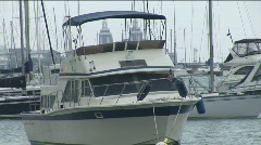 Boats in Monroe Harbor (Lake Michigan) on a rainy, overcast day Stock Footage
