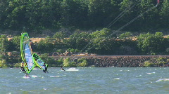 Windsurfer Windsurfing on the Columbia River in Oregon Stock Footage