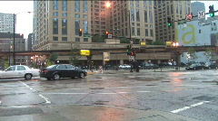Intersection of Harrison and Wabash, Chicago, IL; rainy day, facing northwest Stock Footage