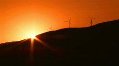 Wind turbines and sunset Stock Footage