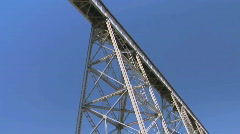 View of Railroad Train Bridge from Below - stock footage