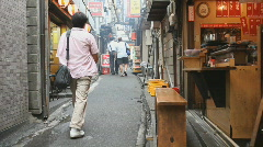Restaurant row in Japan and Japanese people Stock Footage