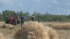 Threshing crew 024 - stock footage
