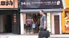 Standing Sushi Bar-Shibuya Tokyo Japan Stock Footage