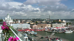 Helsinki harbor and market square Stock Footage