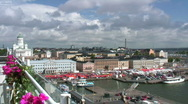 Stock Video Footage of Helsinki harbor and market square