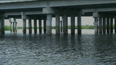Going under a bridge airboat ride Stock Footage