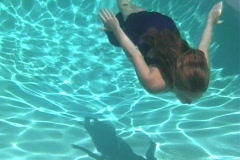 Teen Blonde Underwater in an Evening Gown-1 Stock Footage