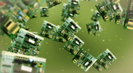 Circuit board against green Stock Footage