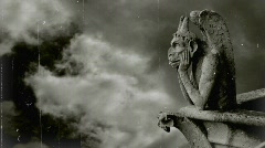 Gargoyle of Notre-Dame,Paris.Imitation of old movie Stock Footage