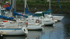 Yatch and boat in harbor Stock Footage