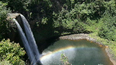 1080p Wailua Falls with rainbow, Kauai, Hawaii Stock Footage