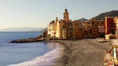 Camogli italy beach coast church Stock Footage