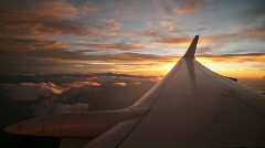 Amazing sunset seen from an airplane Stock Footage