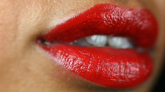 Lips pout sexy mouth talk teeth woman lipstick Stock Footage