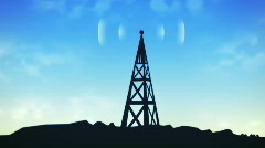 Transmitting communications radio tower (HD NTSC) Stock Footage