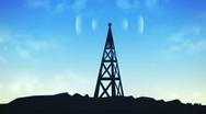 Transmitting communications radio tower (HD NTSC) Stock Footage