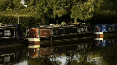 Canal barges in Ellesmere in England Stock Footage