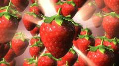 Strawberry Rain amongst light rays loop. Stock Footage