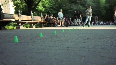 Central Park Skaters Stock Footage