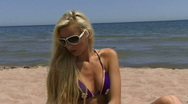 Blond at Beach 03 Stock Footage