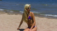 Blond at Beach 06 Stock Footage