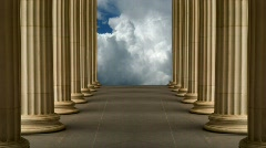 Colonnade and clouds Stock Footage