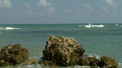 Caesarea  harbor ruins  pan 1 Stock Footage