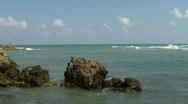 Caesarea  harbor ruins  pan 2 Stock Footage